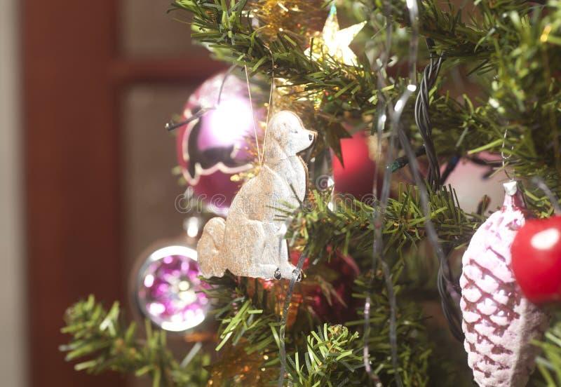Ένωση σκυλιών χαρτοκιβωτίων τελών σφαιρών γυαλιού στο πράσινο χριστουγεννιάτικο δέντρο branc στοκ εικόνα