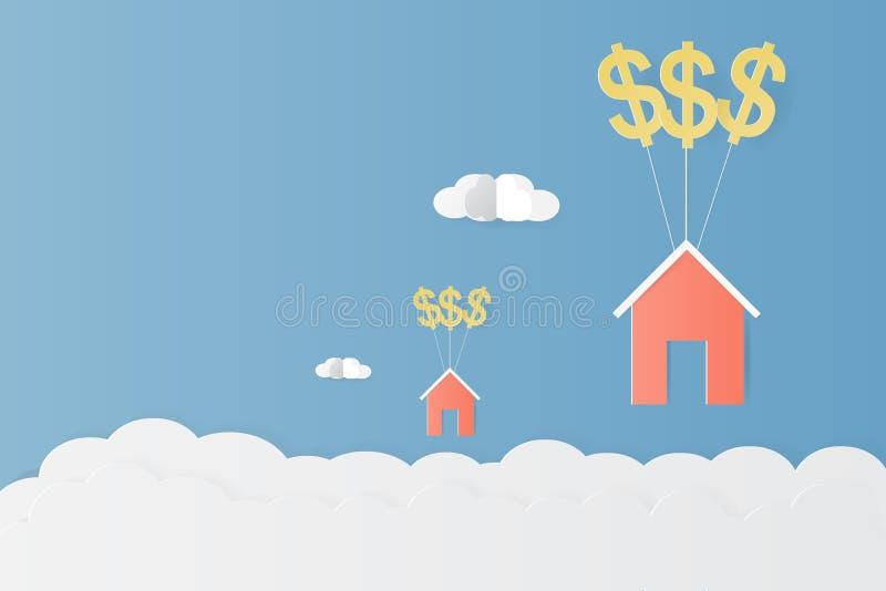 Ένωση σπιτιών με το διανυσματικό σχέδιο απεικόνισης τέχνης εγγράφου μπαλονιών και σύννεφων σημαδιών δολαρίων για την έννοια διαχε διανυσματική απεικόνιση