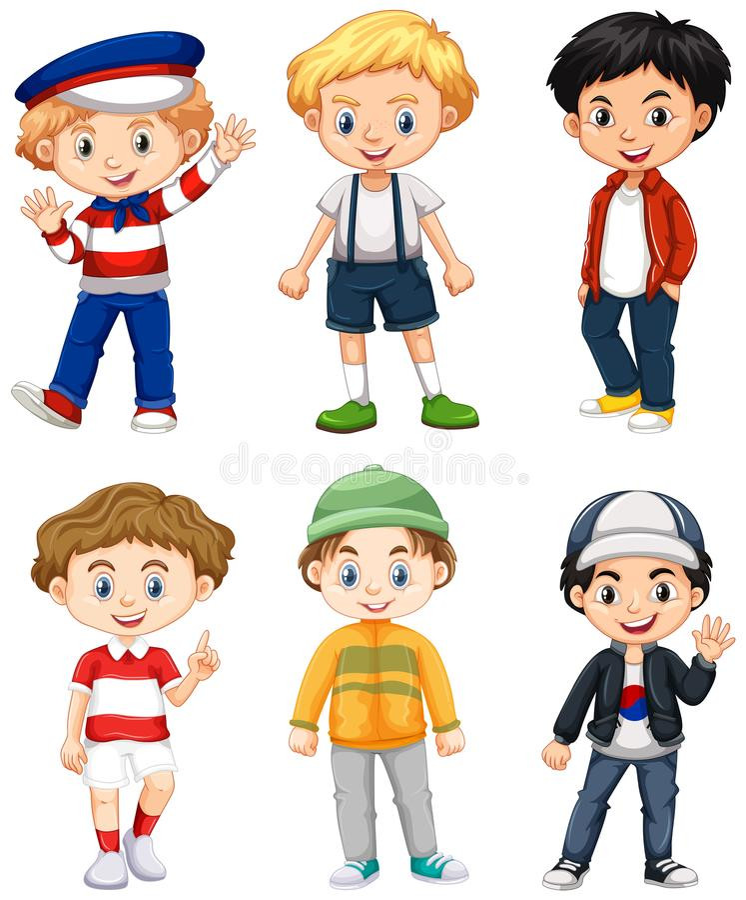 Έξι αγόρια στο διαφορετικό κοστούμι ελεύθερη απεικόνιση δικαιώματος
