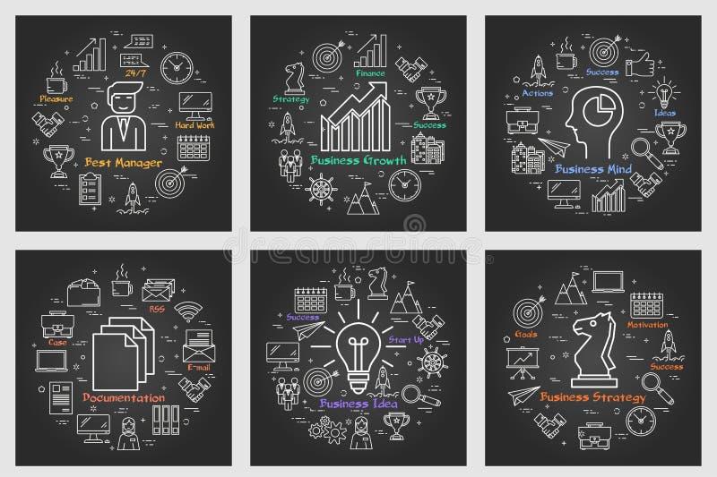 Έξι μαύρα επιχειρησιακά τετραγωνικά εμβλήματα - αύξηση, ιδέα, διευθυντής, στρατηγική, τεκμηρίωση διανυσματική απεικόνιση