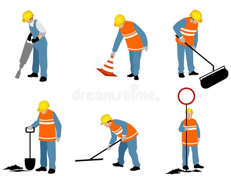 Έξι οδικοί εργαζόμενοι ελεύθερη απεικόνιση δικαιώματος
