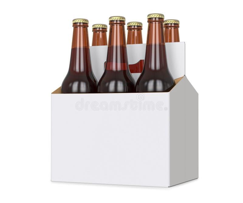 Έξι πακέτο των καφετιών μπουκαλιών μπύρας στον κενό μεταφορέα τρισδιάστατος δώστε, απομονωμένος απομονωμένος πέρα από ένα άσπρο υ στοκ φωτογραφίες