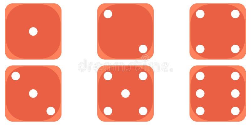 Έξι που κυλούν χωρίζουν σε τετράγωνα το ελεφαντόδοντο πόκερ παιχνιδιώ διανυσματική απεικόνιση