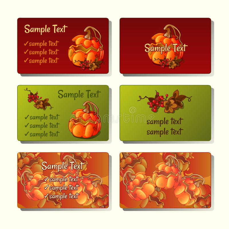Έξι πρότυπα και κάρτες με τις κολοκύθες και το μούρο διανυσματική απεικόνιση