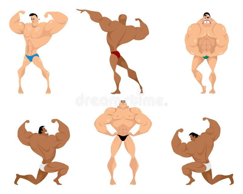 Έξι bodybuilders στο λευκό διανυσματική απεικόνιση