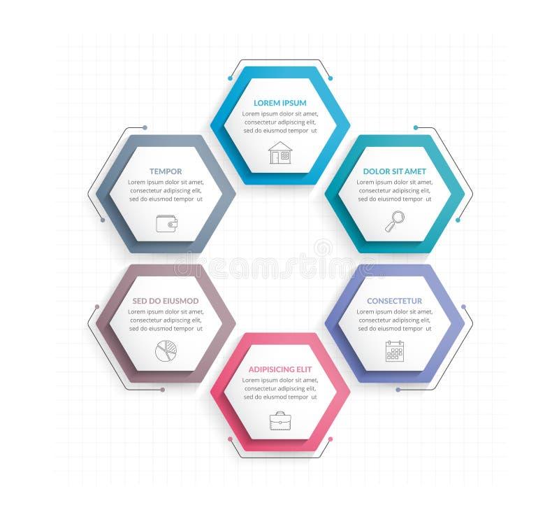 Έξι hexagons ελεύθερη απεικόνιση δικαιώματος