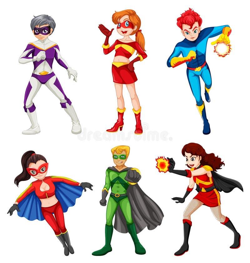 Έξι superheroes απεικόνιση αποθεμάτων