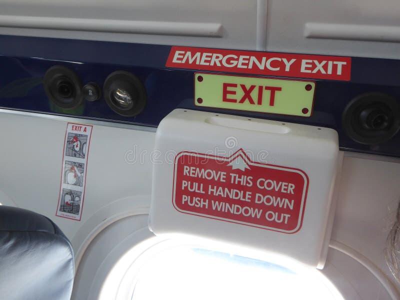 Έξοδος κινδύνου στα αεροσκάφη στοκ φωτογραφίες με δικαίωμα ελεύθερης χρήσης