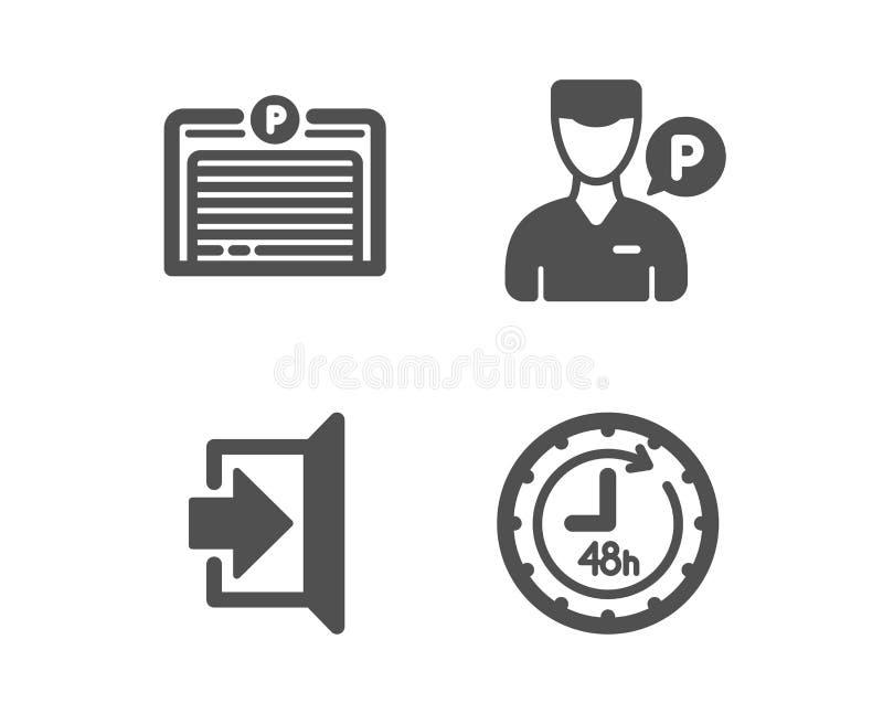 Έξοδος, υπάλληλος προσωπικών υπηρετών και εικονίδια γκαράζ χώρων στάθμευσης σημάδι 48 ωρών Διαφυγή, σταθμεύοντας άτομο, αυτόματη  απεικόνιση αποθεμάτων