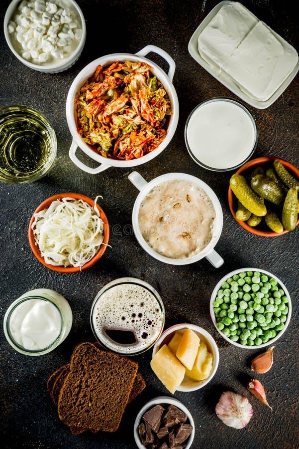 Έξοχες υγιείς Probiotic ζυμωνομμένες πηγές τροφίμων στοκ φωτογραφίες με δικαίωμα ελεύθερης χρήσης