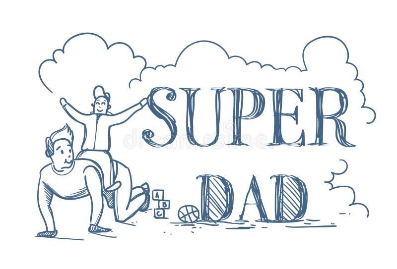 Έξοχη αφίσα Doodle μπαμπάδων με τον οδηγώντας γιο ατόμων πίσω στην άσπρη έννοια ημέρας πατέρων υποβάθρου ευτυχή ελεύθερη απεικόνιση δικαιώματος