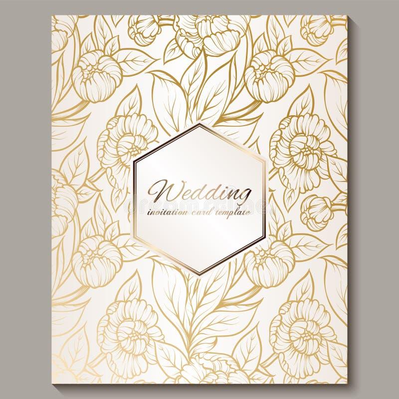 Έξοχη βασιλική γαμήλια πρόσκληση πολυτέλειας, χρυσός στο άσπρο υπόβαθρο με το πλαίσιο και θέση για το κείμενο, δαντελλωτός φύλλωμ στοκ φωτογραφία