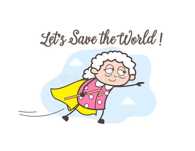 Έξοχη γιαγιά κινούμενων σχεδίων που πετά διανυσματικό γραφικό διανυσματική απεικόνιση