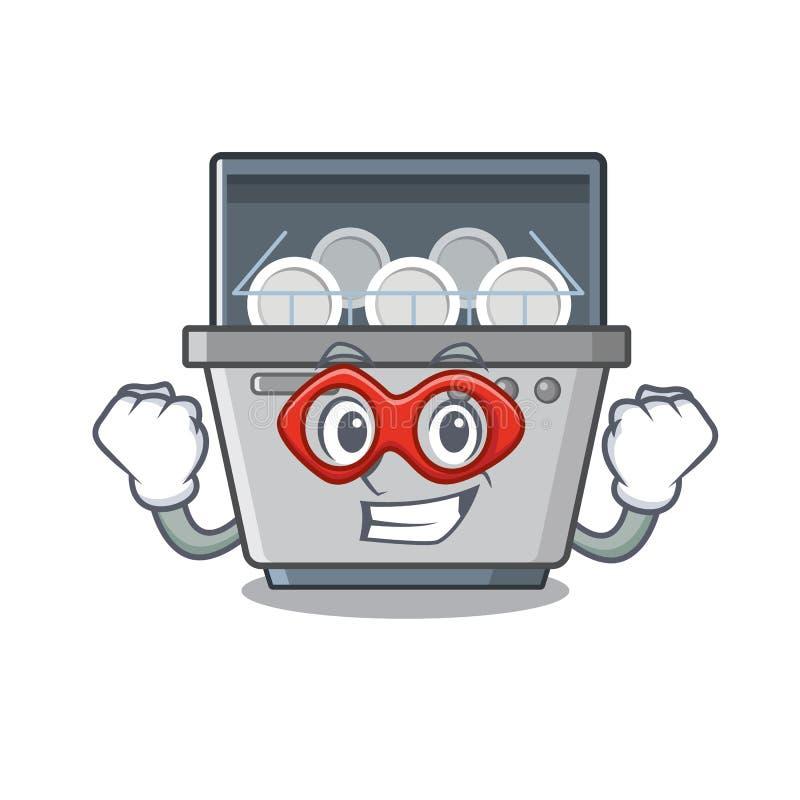 Έξοχη μηχανή πλυντηρίων πιάτων ηρώων που απομονώνεται στα κινούμενα σχέδια διανυσματική απεικόνιση