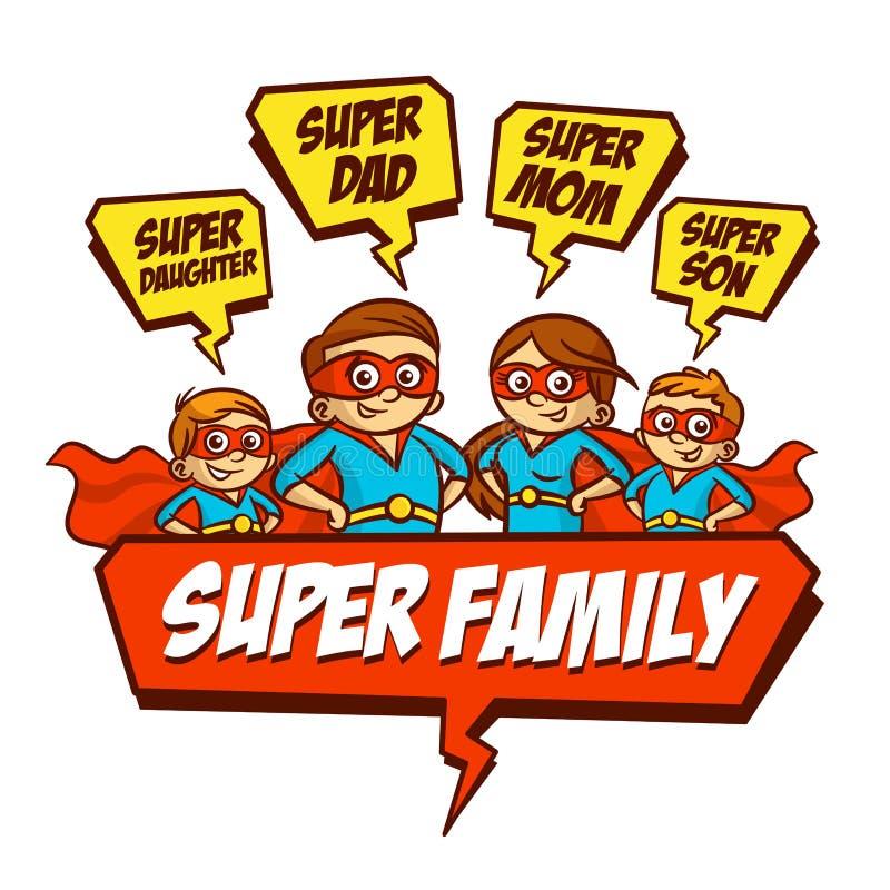 Έξοχη οικογένεια Γιος Superheroes κορών μητέρων πατέρων Σύνολο ελεύθερη απεικόνιση δικαιώματος