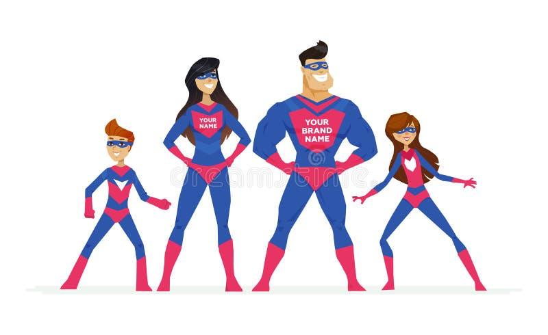 Έξοχη οικογένεια - ζωηρόχρωμη απεικόνιση χαρακτήρων ανθρώπων κινούμενων σχεδίων απεικόνιση αποθεμάτων