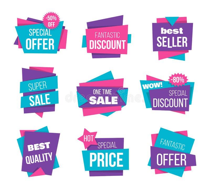Έξοχη πώληση, καλύτερη προσφορά, χαμηλή τιμή, έμβλημα καλύτερων πωλητών Τιμών ετικετών κειμένων προωθητική κορδέλλα εμβλημάτων αγ διανυσματική απεικόνιση