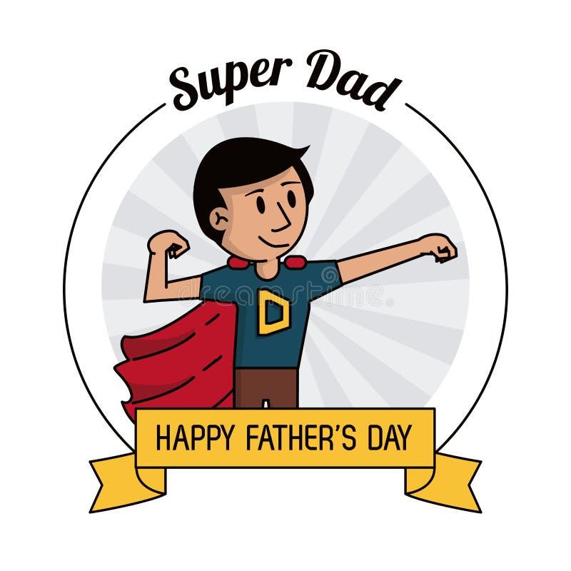 Έξοχος ήρωας μπαμπάδων ισχυρός Ευτυχής κάρτα εορτασμού ημέρας πατέρων ελεύθερη απεικόνιση δικαιώματος