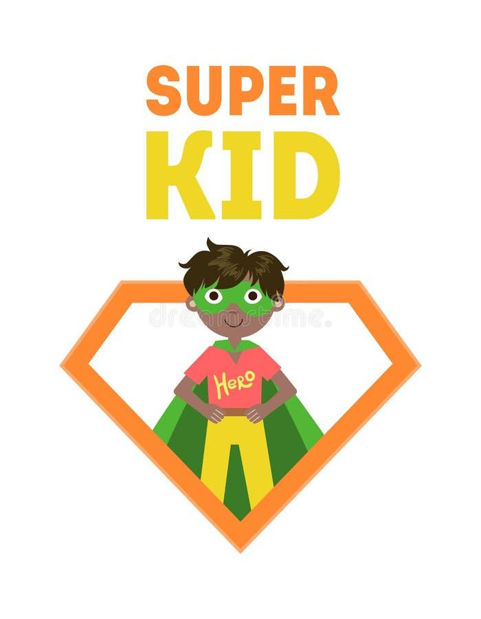 Έξοχο έμβλημα παιδιών, χαριτωμένο μικρό παιδί στο κοστούμι Superhero και διανυσματική απεικόνιση μασκών διανυσματική απεικόνιση