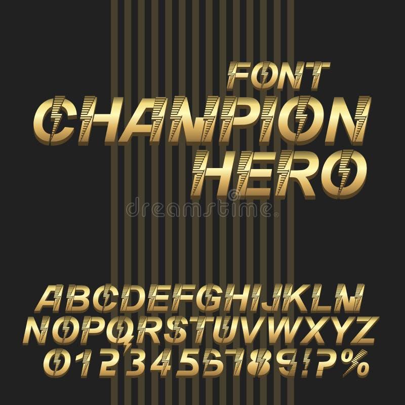Έξοχο αλφάβητο πηγών ηρώων πρωτοπόρων τρισδιάστατοι χρυσοί μεταλλικοί επιστολές και αριθμοί στοκ φωτογραφία με δικαίωμα ελεύθερης χρήσης