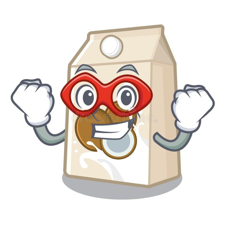 Έξοχο γάλα καρύδων ηρώων που απομονώνεται με το χαρακτήρα διανυσματική απεικόνιση