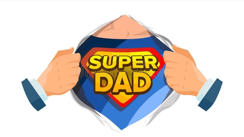 Έξοχο διάνυσμα σημαδιών μπαμπάδων Ημέρα πατέρων s Ανοικτό πουκάμισο Superhero με το διακριτικό ασπίδων Απομονωμένη επίπεδη κωμική απεικόνιση αποθεμάτων