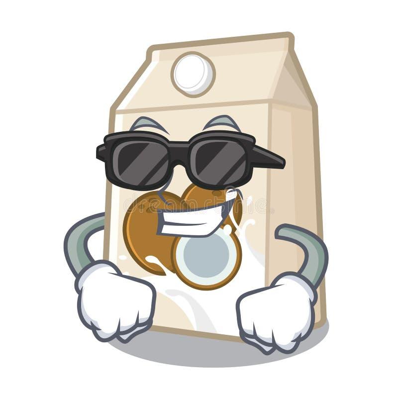 Έξοχο δροσερό γάλα καρύδων που απομονώνεται με το χαρακτήρα ελεύθερη απεικόνιση δικαιώματος