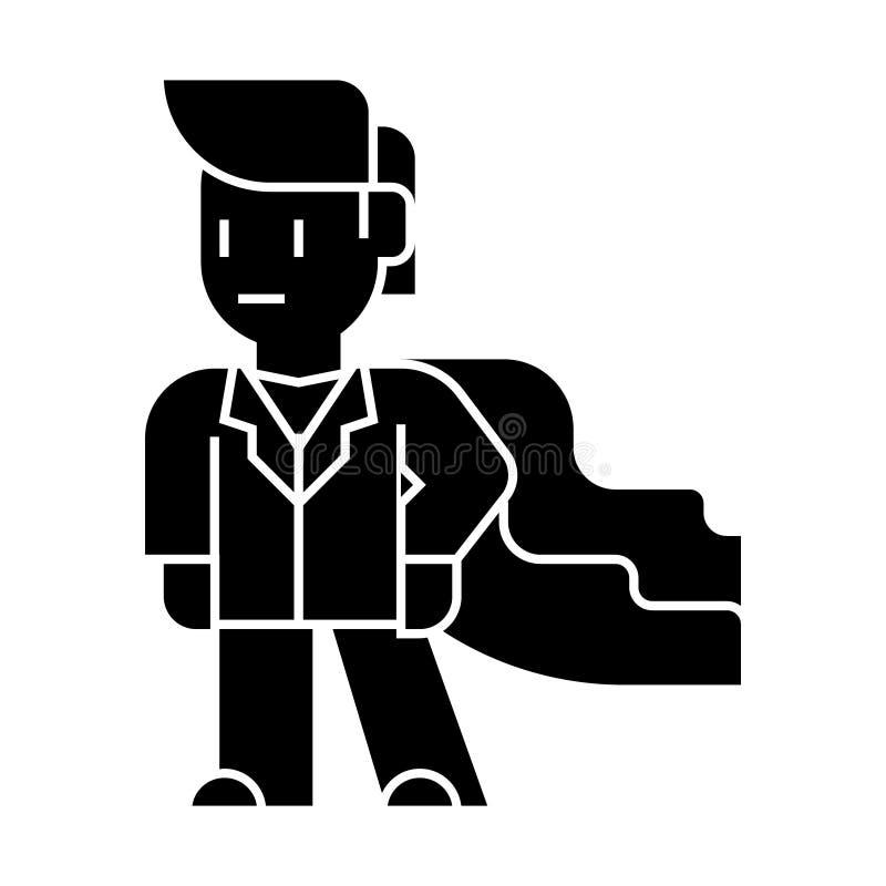 Έξοχο εικονίδιο επιχειρηματιών ηρώων, διανυσματική απεικόνιση, μαύρο σημάδι στο απομονωμένο υπόβαθρο απεικόνιση αποθεμάτων