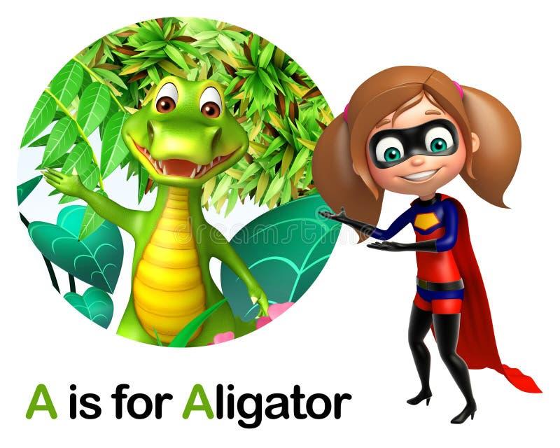 Έξοχο κορίτσι που δείχνει τον αλλιγάτορα ελεύθερη απεικόνιση δικαιώματος