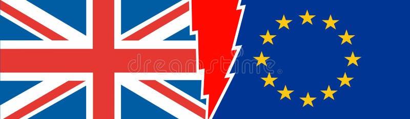 Έξοδος της Μεγάλης Βρετανίας από τη σχετική εικόνα της Ευρωπαϊκής Ένωσης απεικόνιση αποθεμάτων