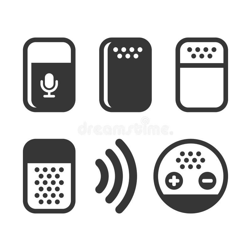 Έξυπνα βοηθητικά εικονίδια συσκευών φωνής καθορισμένα διάνυσμα απεικόνιση αποθεμάτων