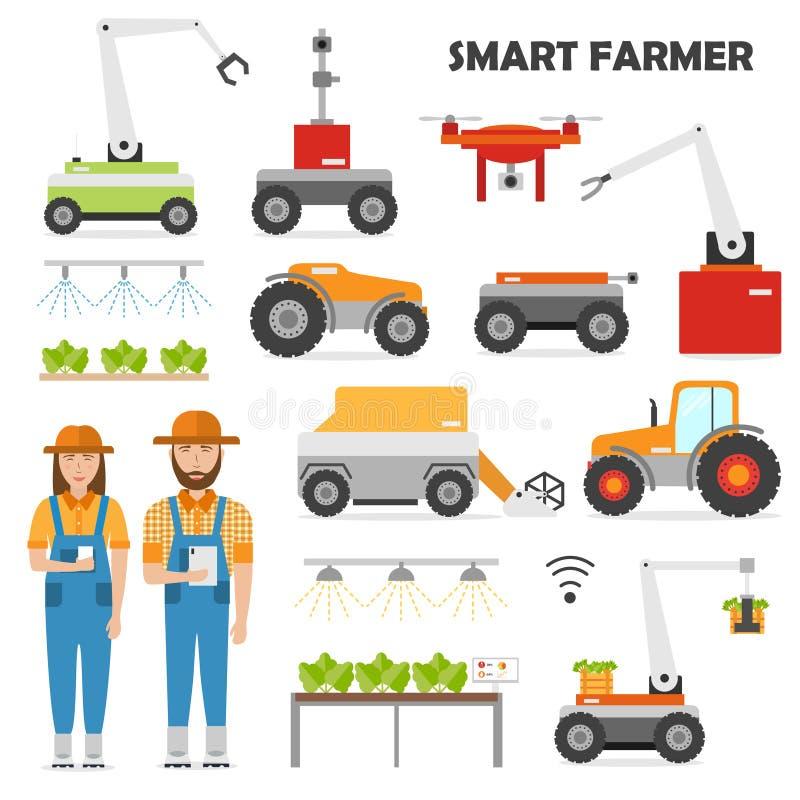 Έξυπνα εικονίδια καλλιέργειας αυτοματοποίησης γεωργίας καθορισμένα ελεύθερη απεικόνιση δικαιώματος
