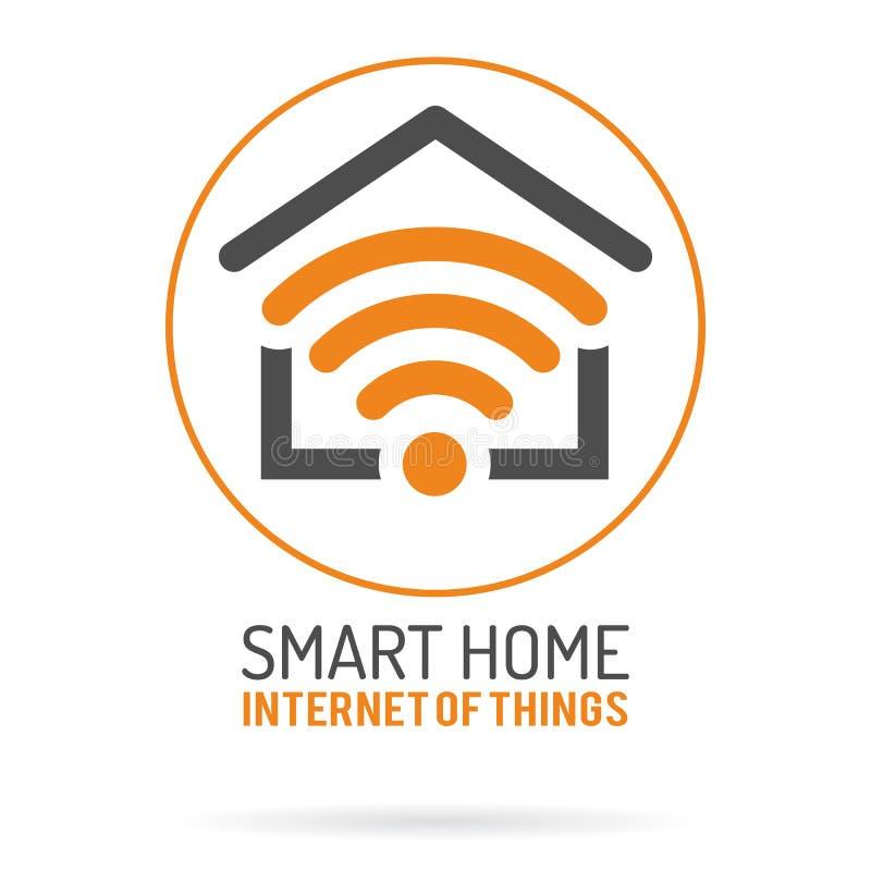 Έξυπνα σπίτι και Διαδίκτυο του λογότυπου πραγμάτων διανυσματική απεικόνιση