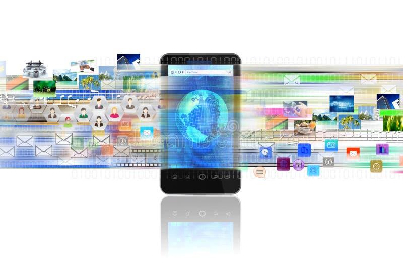 Έξυπνα τηλέφωνο και Διαδίκτυο διανυσματική απεικόνιση