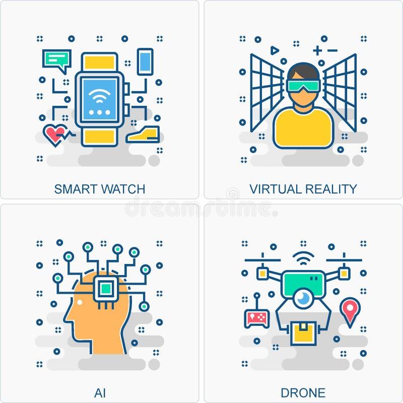 Έξυπνες εικονίδια και έννοια ρολογιών AI κηφήνων ελεύθερη απεικόνιση δικαιώματος
