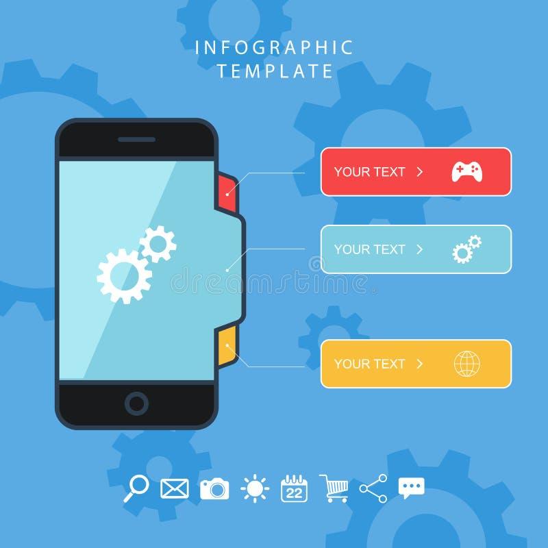 Έξυπνες πληροφορίες τηλεφωνικού χρώματος γραφικό πρότυπο επίσης corel σύρετε το διάνυσμα απεικόνισης διανυσματική απεικόνιση