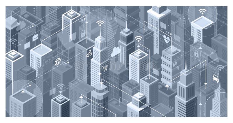 Έξυπνες συνδέσεις πόλεων διανυσματική απεικόνιση