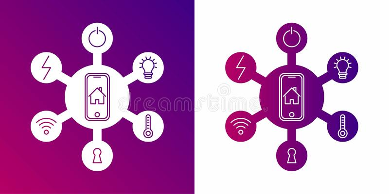 Έξυπνη έννοια εγχώριου ελέγχου Σπίτι έννοιας με το σύστημα τεχνολογίας Επίπεδη διανυσματική απεικόνιση ύφους σχεδίου απεικόνιση αποθεμάτων