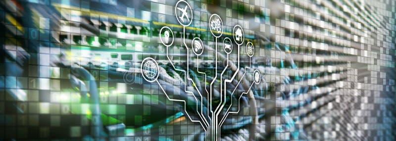 Έξυπνη έννοια κεντρικών υπολογιστών IOT Διαδίκτυο των πραγμάτων Τεχνολογία επικοινωνιών πληροφοριών ICT Διαγράμματα με τα εικονίδ στοκ εικόνα με δικαίωμα ελεύθερης χρήσης
