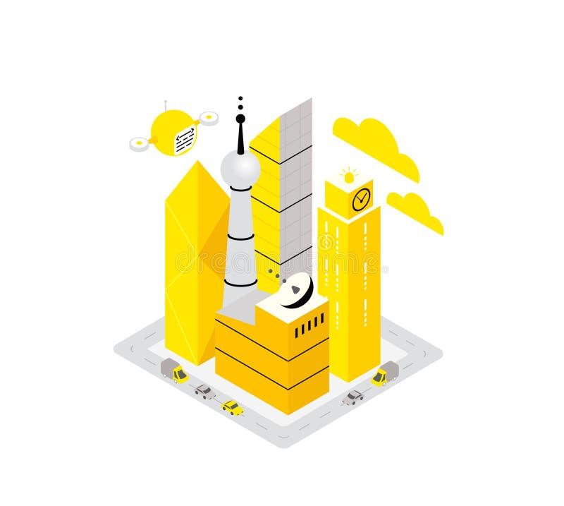 Έξυπνη έννοια κεντρικών isometric εικονιδίων υποδομής στοιχείων πόλεων Αυτοματοποίηση τεχνολογίας κεντρικών υπολογιστών φιλοξενία ελεύθερη απεικόνιση δικαιώματος