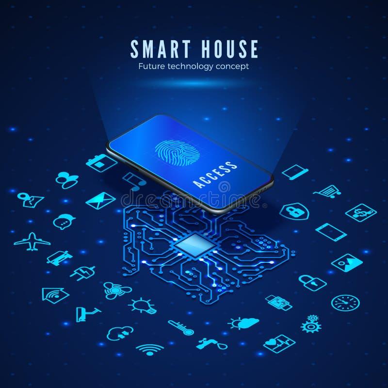 Έξυπνη έννοια σπιτιών Smartphone με το δακτυλικό αποτύπωμα στην οθόνη και εικονίδια καθορισμένα Έξυπνοι εγχώριοι έλεγχος και συστ απεικόνιση αποθεμάτων