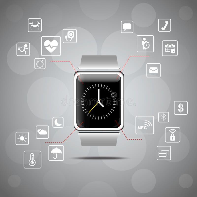 Έξυπνη έννοια συσκευών ρολογιών φορετή ελεύθερη απεικόνιση δικαιώματος