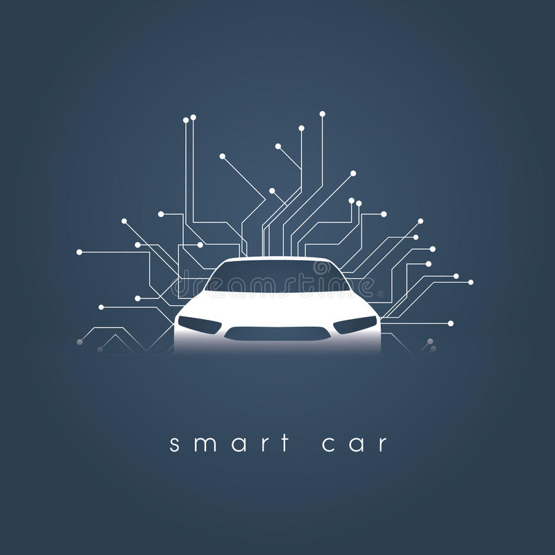 Έξυπνη ή ευφυής διανυσματική έννοια αυτοκινήτων Φουτουριστική αυτοκίνητη τεχνολογία με την αυτόνομη οδήγηση, driverless αυτοκίνητ διανυσματική απεικόνιση