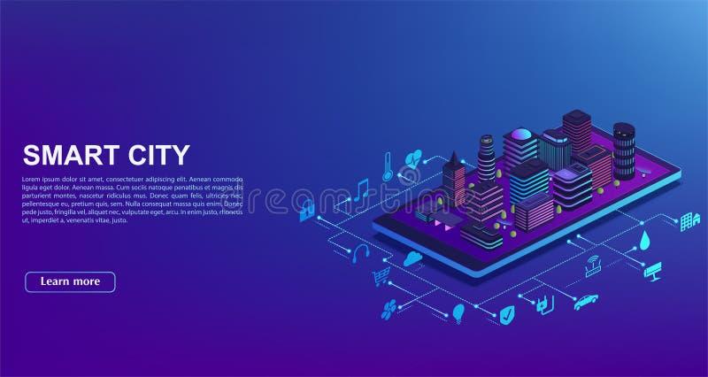 Έξυπνη αυτοματοποίηση πόλεων από το smartphone Έννοια της οικοδόμησης του συστήματος διαχείρισης, τεχνολογία του iot Η πόλη στέκε απεικόνιση αποθεμάτων