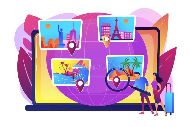 Έξυπνη διανυσματική απεικόνιση έννοιας συστημάτων τουρισμού διανυσματική απεικόνιση