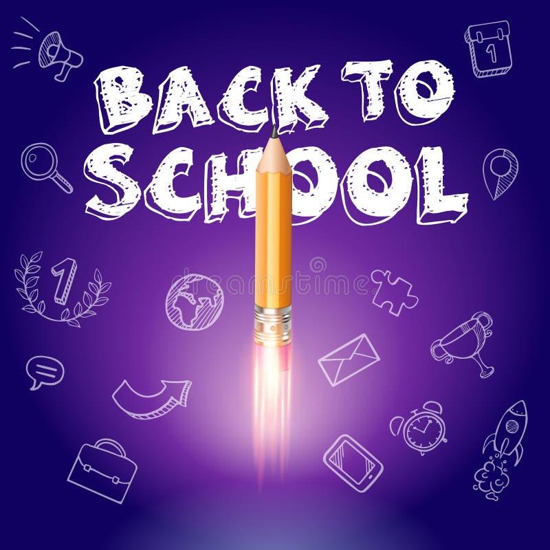 Έξυπνη εκπαίδευση Πίσω στο σχολείο με συρμένα τα χέρι εικονίδια εκπαίδευσης Έναρξη σκαφών πυραύλων με το μολύβι - σκίτσο στον πίν στοκ φωτογραφίες
