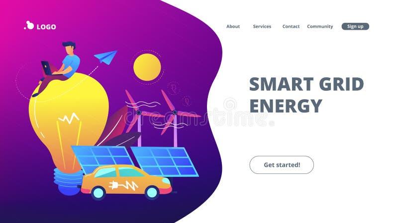 Έξυπνη ενεργειακή προσγειωμένος σελίδα πλέγματος απεικόνιση αποθεμάτων