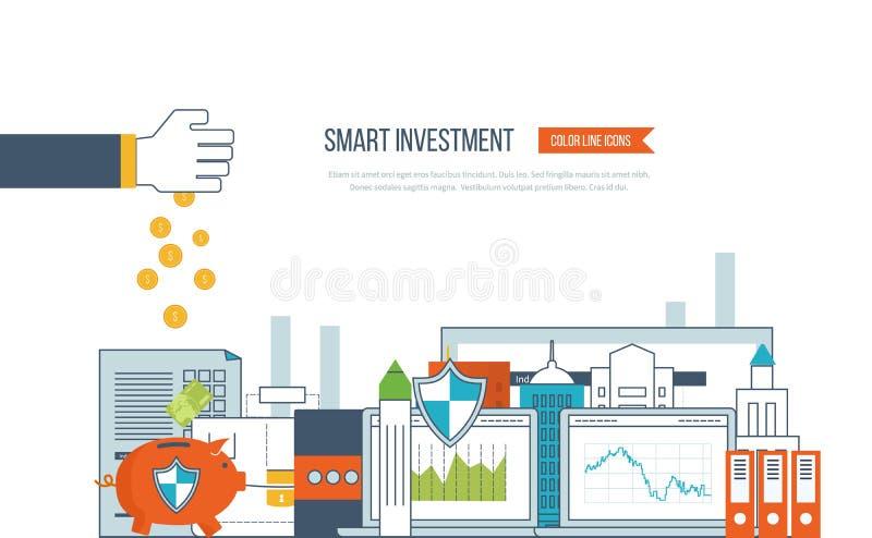 Έξυπνη επένδυση, χρηματοδότηση, analytics στοιχείων αγοράς, στρατηγική διαχείριση, οικονομικός σχεδιασμός απεικόνιση αποθεμάτων