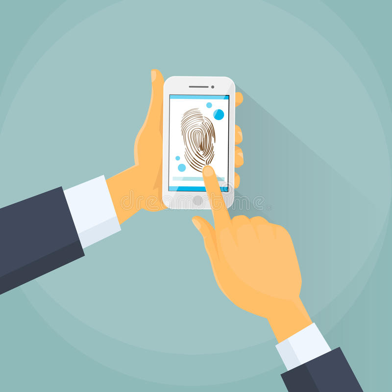 Έξυπνη κλειδαριά τηλεφωνικής πρόσβασης δακτυλικών αποτυπωμάτων, επιχειρησιακό άτομο ελεύθερη απεικόνιση δικαιώματος