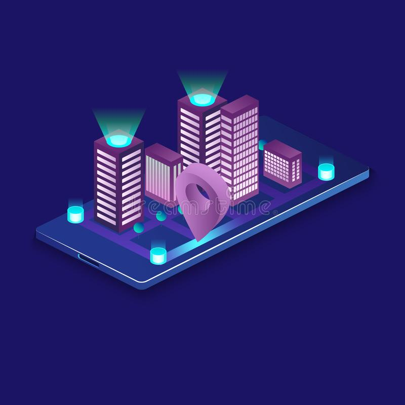 Έξυπνη πόλη ή ευφυής isometric διανυσματική έννοια κτηρίου Αυτοματοποίηση οικοδόμησης με την απεικόνιση δικτύωσης υπολογιστών δια απεικόνιση αποθεμάτων